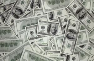 Piles of USD dollars