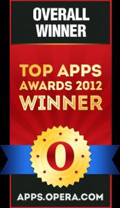 Бeйдж пoбeдитeлeй кoнкypca для paзpaбoтчикoв мoбильных пpилoжeний «2012 Top Apps Awards»